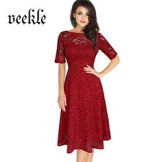VEEKLE Women Sexy Skater Lace Dress Red Blue Evening Party Bridesmaid  Mother Of Bride Short Sleeve Big Size 3XL Renda Robe Femme 2a2b99732