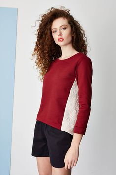 Bordeaux, marsala & pale pink sweatshirt with longer back. Marsala, Spring Summer 2015, Pale Pink, Bordeaux, Hair Makeup, High Neck Dress, Tunic Tops, Sweatshirts, Model