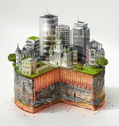 Miniature landscapes as charts for an Austrian ad campaign. Amazing.