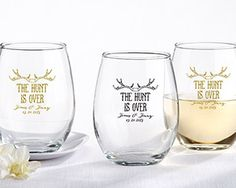 Personalized 9 Oz. Stemless Wine Glass - The Hunt is Over - My Wedding Favors