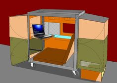 the shelter includes a sleeping / resting area, a kitchen and makeshift washroom.