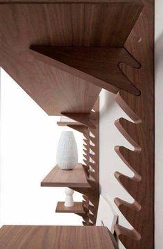 Joinery - Shelves - 'Totem' shelving unit by Broberg & Ridderstråle for Klong Cnc Projects, Woodworking Projects, Woodworking Plans, Woodworking Organization, Woodworking Joints, Woodworking Classes, Woodworking Shop, Deco Design, Wood Design