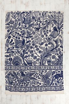 Blue and white printed textile