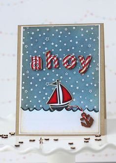 Lawn Fawn - Float My Boat, Quinn's ABCs + coordinating dies, Starry Backdrops,  Ahoy card by Elena for Lawn Fawn Design Team, via Flickr