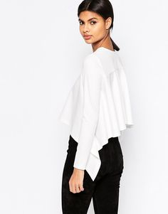 ASOS Top in Crepe with Ruffle Back Detail