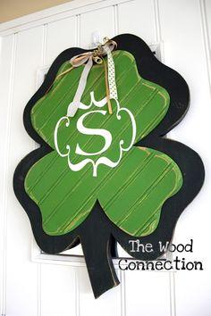 the wood connection: large shamrock door hanger & vinyl monogram