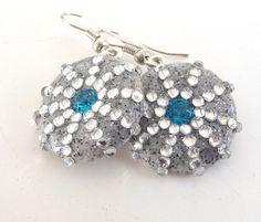 Swarovsky polymer blue clear earrings by ShimmeringCloud on Etsy, $34.00