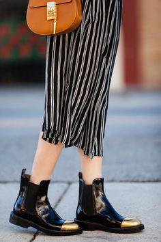 J.CREW STRIPE SHORT-SLEEVE SWEATER, A.L.C. 'McDermott' Stripe Silk Midi Skirt, Marni Black Leather Gold Toe Chelsea Boots, Chloe drew bag, CHLOE' SMALL DREW GRAINED NAPPA LEATHER BAG, Madewell floppy felt fedora, Dior So Real Brow Bar Sunglasses, stripes style, Spring fashion, Street style