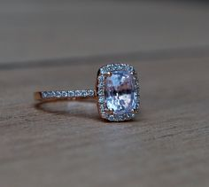 1.68ct Cushion Peach sapphire14k rose gold diamond ring enagagement ring sapphire ring. $1,750.00, via Etsy.
