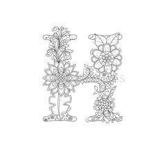 adult coloring page - floral letters, alphabet H, hand lettering, printable… Coloring Letters, Alphabet Coloring Pages, Printable Coloring, Adult Coloring Pages, Coloring Books, Alphabet Design, Floral Embroidery Patterns, Hand Embroidery Stitches, Zen Colors