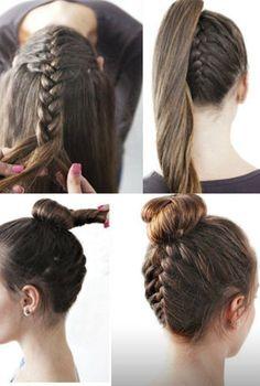 Sensational Follow Me Braid Buns And Unique On Pinterest Hairstyles For Women Draintrainus