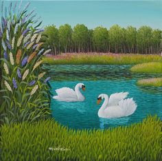 We present: Swans - Cesare Marchesini. One of the many paintings by Cesare Marchesini. Modern Art Paintings, Indian Paintings, Animal Paintings, Beautiful Paintings, Swan Painting, Painting Gallery, Pebble Painting, Swan Pictures, Pictures To Paint