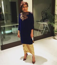 @meharrafi killing it in an FH velvet tunic and FH gold dhoti pants #lovethisgirlstyle