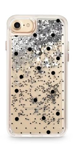 silver glitter polka dot iPhone case