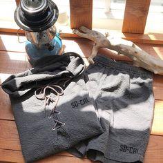 Standard California Seersucker US Navy Hood Jacket & Easy Shorts. #standardcalifornia #スタンダードカリフォルニア #california #hoodjacket #フードジャケット #seersucker #シアサッカー #usnavy #ユーエスネイビー #easyshorts #イージーショーツ