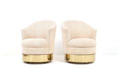 Pair of Karl Springer Barrel or Club Lounge Chairs