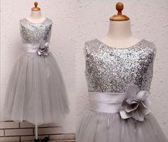 Wholesale Flower Girls' Dresses - Buy Silver/Ivory Sequins Flower Girl Dress Baby Infant Toddler Kids Dress/Junior Bridesmaid Dress/Ruffle Flower/Baby Girl Dress/Christmas Dress, $47.0   DHgate