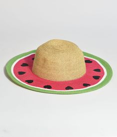 Painted Hats, White Rims, Unique Vintage, Vintage Style, Pink Patterns, Kids Hats, Have Some Fun, Bright Green, Watermelon