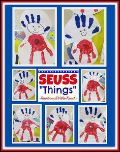 """Handprint Seuss """"Things"""" - Cute."""