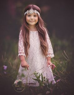 This beautiful White Long Sleeve Tunic Dress is perfect to wear as a flower girl dress. The perfect fit for any little princess. Lined. SHOP girls clothing for little girls http://thinkpinkbows.com/products/tunic-lace-dress-white | Shabby Chic Dresses | Kids Fashion | Rustic