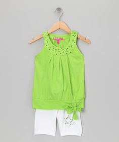 Take a look at this Lime Pleated Yoke Tank & White Shorts - Toddler by Cherry Stix on #zulily today!