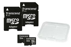Transcend Dual Pack 32GB MicroSDHC Class10 UHS-1 Memory Card with Adapter 45 MB/s (TS32GUSDU1X2E) Transcend,http://www.amazon.com/dp/B00FZHUTAO/ref=cm_sw_r_pi_dp_ieFHtb0VB7HJMZV5