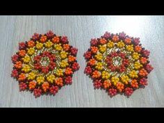 Tutorial - Aretes tipo estrella en mostacillas - YouTube Seed Bead Patterns, Beaded Jewelry Patterns, Beading Patterns, Seed Bead Earrings, Beaded Earrings, Mandala, Native Beadwork, Special Flowers, Bead Jewellery