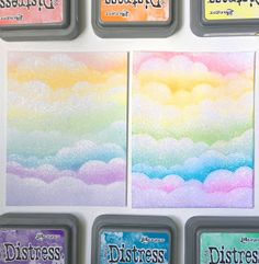 It's Ashley with a card full of sparkly, rainbow goodness! Today I'm going to share two ways that you can . Atc Cards, Sympathy Cards, Easel Cards, Distress Ink Techniques, Embossing Techniques, Big Shot, Cloud Stencil, Rainbow Card, Lavinia Stamps