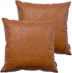 Amazing offer on HOMFINER Faux Leather Throw Pillow Covers, 18 x 18 inch Set 2 Thick Cognac Brown Modern Solid Decorative Square Bedroom Living Room Cushion Cases Couch Bed Sofa online - Newtrendyfashion Leather Throw Pillows, Brown Pillows, Leather Pillow, Lumbar Throw Pillow, 20x20 Pillow Covers, Decorative Throw Pillows, Leather Couches, Brown Couch, Leather Ottoman