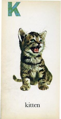 """K"" is for 'Kitten' ~ Vintage Children's ABC Flash Card, 1958"