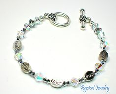 """""""For Jo"""" Message Bracelet """"Faith"""" """"Pray"""" """"Hope"""" """"Trust"""" """"Love"""" With Purchase $5 donated to Pink Ribbon Girls 8 inch $32 www.rejoicejewelry.com"""