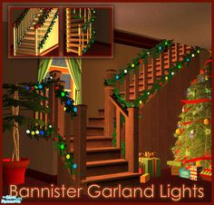 """ Bannister Garland Lights - Christmas Stair Garland Lights Made By A set of 13 modular garland lights, 12 pieces are for stairs and one if for fences/rails. The Sims, Sims 1, Sims 4 Mods, Sims 4 Seasons, Christmas Stairs Decorations, Sims Pets, Sims 4 Clutter, Best Sims, Sims 4 Cc Packs"
