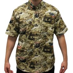 Men's Military Woven Button Down
