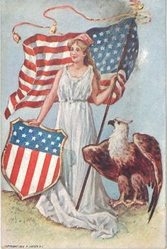 Vintage Patriotic Postcards: Lady Liberty with Flag and Eagle