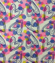 Easy Wash & Care Fabric-Line & Bubble Hearts Multi