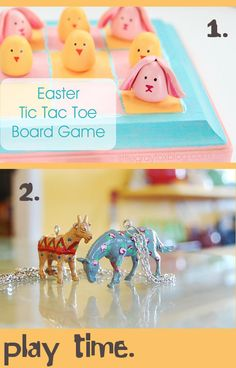 DIY Easter Basket Gift Ideas - Super Cute Bunny Tic Tac Toe Game Board and Rose Painted Toy Animal Jewelry + Others