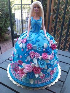 blue barbie cake