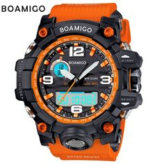 Boamigoブランド男性スポーツ腕時計デュアルディスプレイアナログデジタルled電子クォーツ時計50メートル防水水泳腕時計F5100