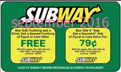 Free Printable Coupons: Subway Coupons