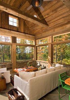 big window, great view, rustic feel