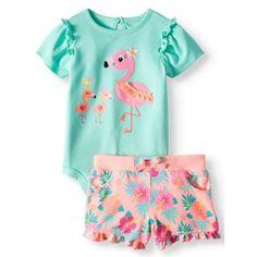 b179b43f Garanimals - Graphic Bodysuit & Knit Denim Shorts, 2pc Outfit Set (Baby  Girls