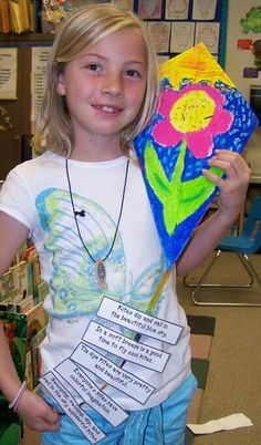 practice their acrostic skills within the structure of a kite tail using descriptive phrases and exciting verbs