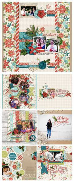 zpearn-lifestorieschristmas- awesome way to use a paper collection to create coordinated, but very different , beautiful layouts