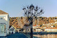 Empty Asphalt Road Along The Waterfront Editorial Photography - Image of scandinavian, bridge: 48837047 Image Photography, Editorial Photography, Wooden Facade, Asphalt Road, Bare Tree, Old Lamps, North Sea, Facades, Hdr