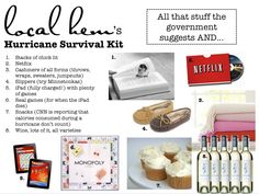 Hurricane Survival Kit - Share it with a loved one. For the next hurricane that blows through Ohio! Emergency Preparation, Survival Prepping, Emergency Preparedness, Hurricane Kit, Happy Earth, Southern Charm, Safety Tips, Storms, Helpful Tips
