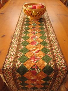 Quilted Table Runner Fall Colors   PatchworkMountain - Quilts on ArtFire