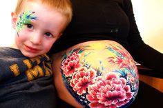 pregnancy art, bump painting, lotus flower