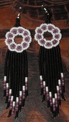 Huichol Peyote Beaded Earrings KKK-1 by HuicholArte on Etsy