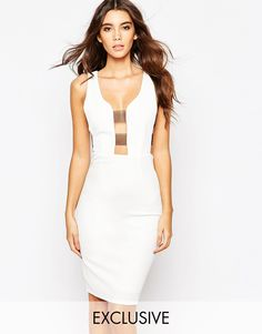NaaNaa+Plunge+Front+Bodycon+Dress+With+Sheer+Bandage+Sides