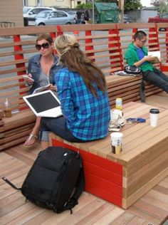 VIVA Vancouver Parklet is about creatively transforming streets into vibrant public spaces. Urban Furniture, Street Furniture, Outdoor Furniture Sets, Office Furniture, Co Design, Urban Design, Outdoor Dining, Outdoor Spaces, Area Urbana